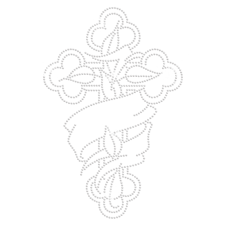 Cross with Ribbon Iron on Strass Transfer for t shirt