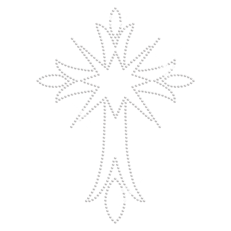 Clear Crystal Iron On Cross with Starburst Transfer Design