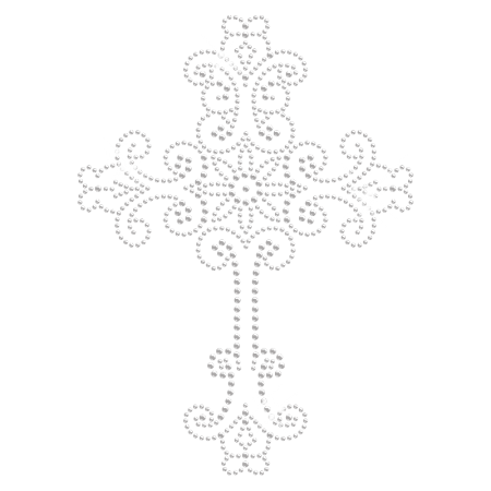Charming Cross Iron on Rhinestone Design for Clothing