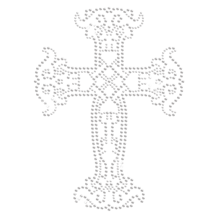 Crystal Iron on Cross with Starburst Design for t shirt