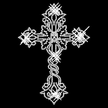 Rhinestone Iron on Cross Design for t shirt