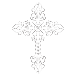 Shinning Crystal Iron on Cross Transfer Design