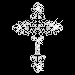 Shinning Crystal Iron on Cross Transfer Design