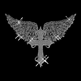 Crystal Wing and Cross Rhinestone Iron on Design