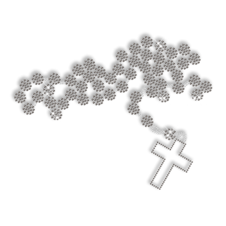 Crystal and Black Necklace Cross Hot Fix Design