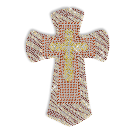 Colorful Rhinestone and Nainhead Cross Hot Fix Design