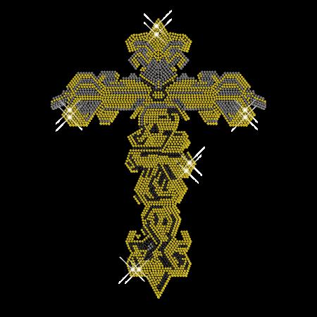Rhinestud Gold Cross Hot Fix Transfer