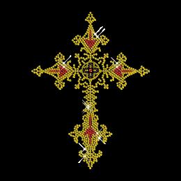 Rhinestud and Rhinestone Cross Iron on Transfer