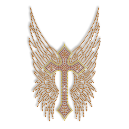 Brown Wing and Cross Hot Fix Rhinestone Design