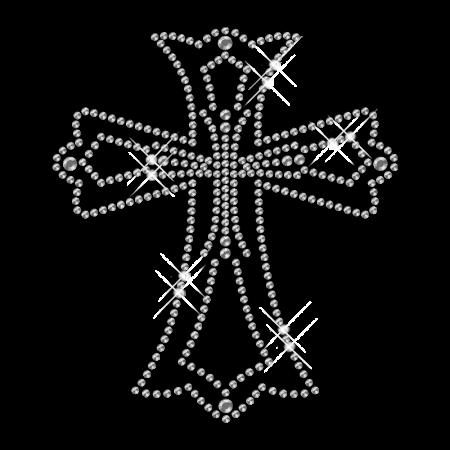 Crystal Simple Cross Hot Fix Rhinestone Motif