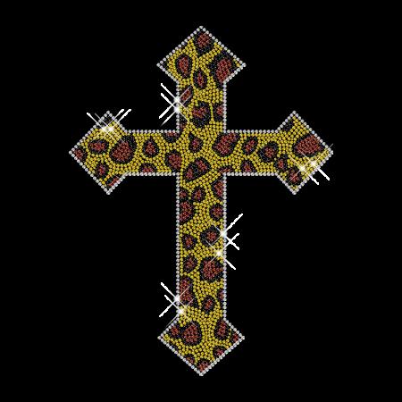 Lepord Cross Rhinestone Hot Fix Design