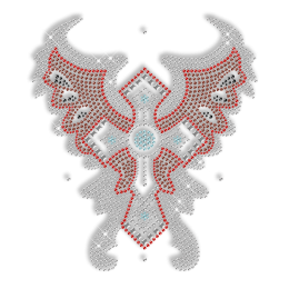 Butterfly Cross Iron on Rhinestone Transfer