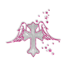 Sparkling Rhinestone and Glitter Cross with Pink Wings Iron on Transfer Motif for Clothes