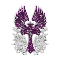 Sparkling Rhinestone and Glitter Large Cross with Wings Iron on Transfer Motif for Clothes