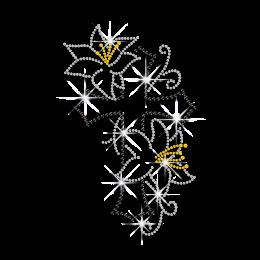 Elegant Cross with Flowers Iron-on Hotfix Rhinestone Transfer