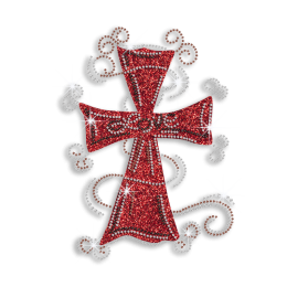 Red Cross with Love Iron-on Glitter Rhinestone Transfer
