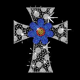 Bling Cross with Flower Iron-on Glitter Rhinestone Transfer