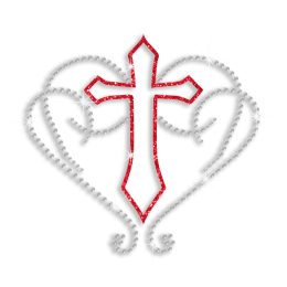 Hollowed Red Cross Encircled with Heart Iron-on Rhinestone Transfer