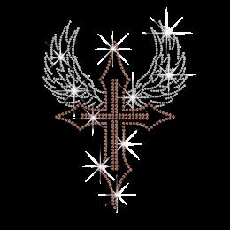 Brown Cross with Wings Iron-on Rhinestone Transfer