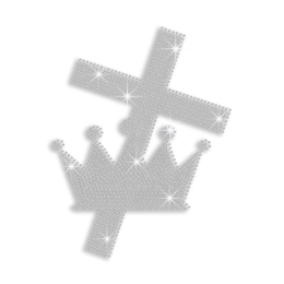 Crystal Cross & Crown Iron-on Rhinestone Transfer
