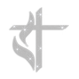 Crystal Cross with Leaves Iron-on Rhinestone Transfer