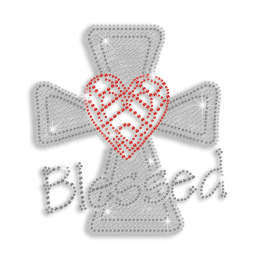 Shiny Cross with Blessed Heart Iron-on Rhinestone Transfer
