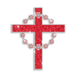 Red Cross with Garland Iron-on Glitter Nailhead Rhinestone Transfer