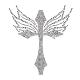 Crystal Blessing Cross Iron-on Rhinestone Transfer