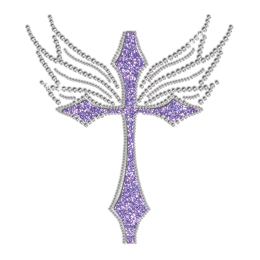 Bling Purple Cross Hot Fix Glitter Rhinestone Transfer