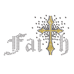 Strong Faith Cross Iron-on Rhinestone Transfer