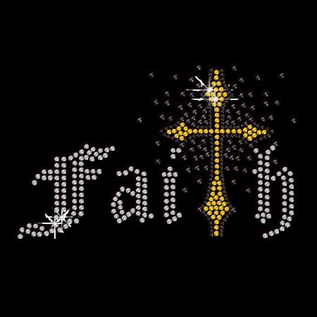 Strong Faith Cross Iron-on Rhinestone Transfer