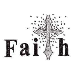 Black Designed Faith Cross Iron-on Glitter Rhinestone Transfer
