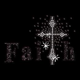 Black Designed Faith Cross Iron-on Glitter Rhinestone Transfer