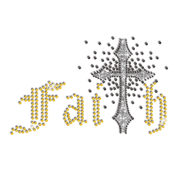 Bling Faith Cross Iron-on Glitter Rhinestone Transfer