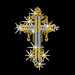 Mysterious Divine Cross Heat Press Rhinestone Nailhead Transfer Motif