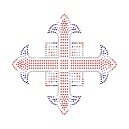 Sparkling Three Colored Cross Iron on Rhinestone Transfer