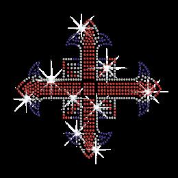 Sparkling Three Colored Cross Iron on Rhinestone Transfer
