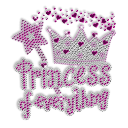 Rhinestud Pinky Crown Princess Iron on Transfer