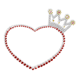 Simple Crown and Heart Rhinestone Iron on Transfer