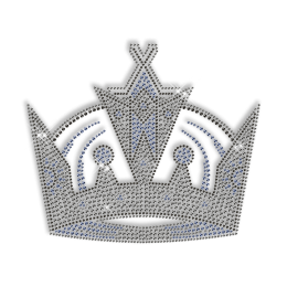 Sparkling Rhinestone Black and Blue Crown Iron on Transfer Motif for Clothes