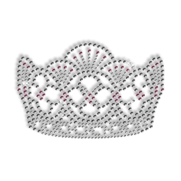 Shining Rhinestone Crystal and Pink Crown Iron on Transfer Motif for Clothes