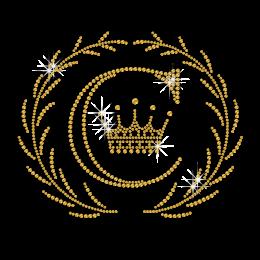 Hot Pure Gold Crown Hotfix Strass Design