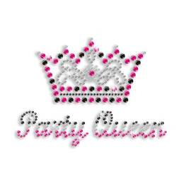 Party Queen Crown Iron-on Rhinestone Transfer