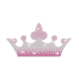 Cute Pink Crown Rhinestud Iron-on Transfer Motif