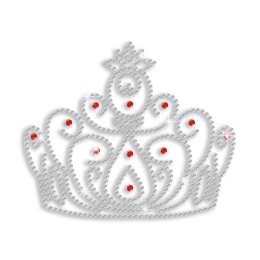Crystal Crown with Rubies Iron on Rhinestone Transfer