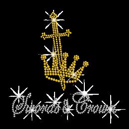 Yellow Swards & Crown Iron-on Rhinestone Transfer