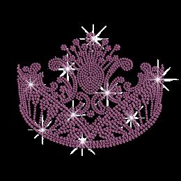Purple Vintage Crown Iron on Rhinestone Transfer