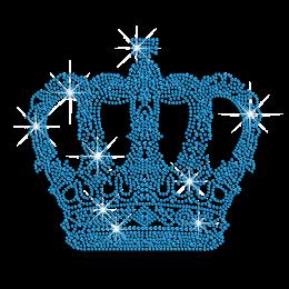 Intricate Blue Crown Iron on Rhinestone Design