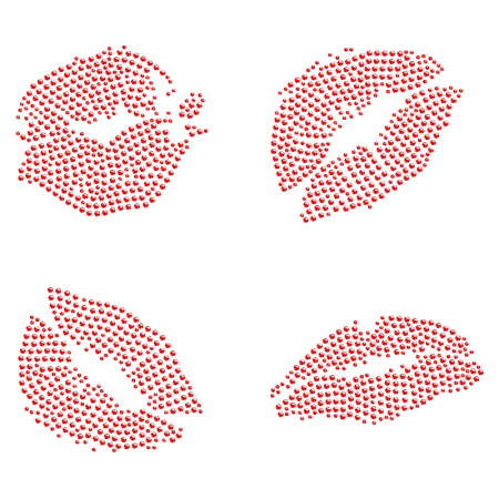 Red Lips Rhinestone Iron ons for t shirt