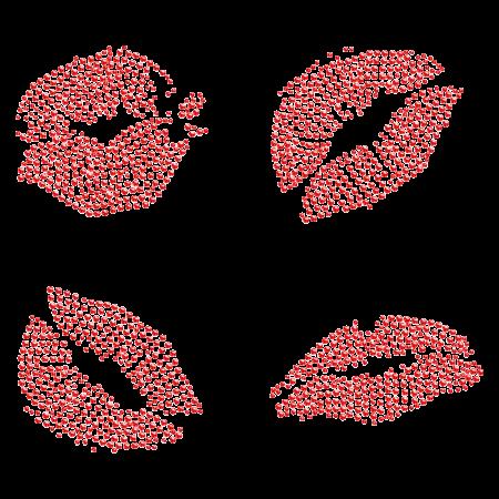 Red Lips Rhinestone Iron ons for t shirt